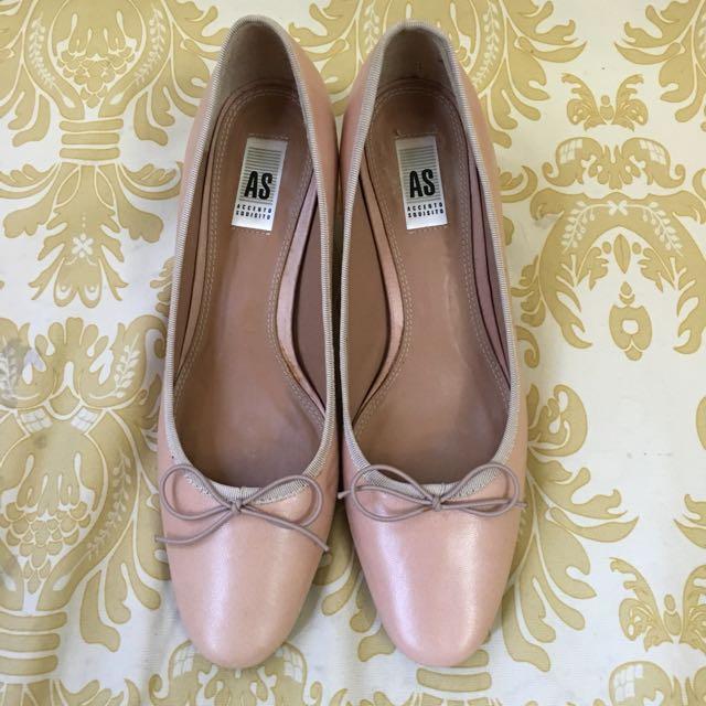 全新真皮AS粉色氣質滿分蝴蝶結經典跟鞋 23.5 37號正常版