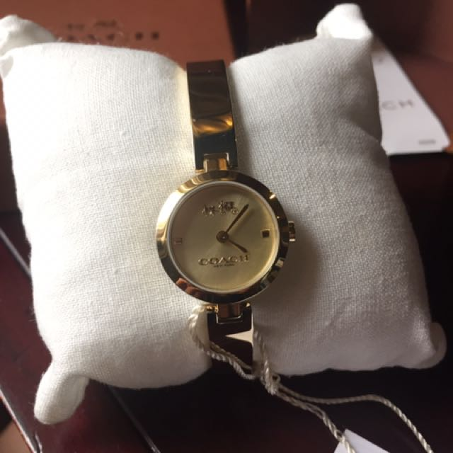 Authentic Coach Gold Bangle Wristwatch