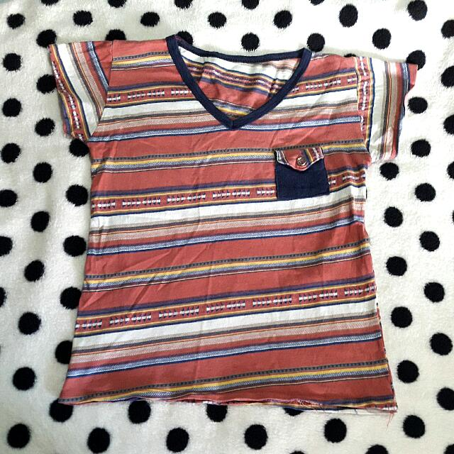 Aztec T-shirt W/ Front Pocket, Fits S To M