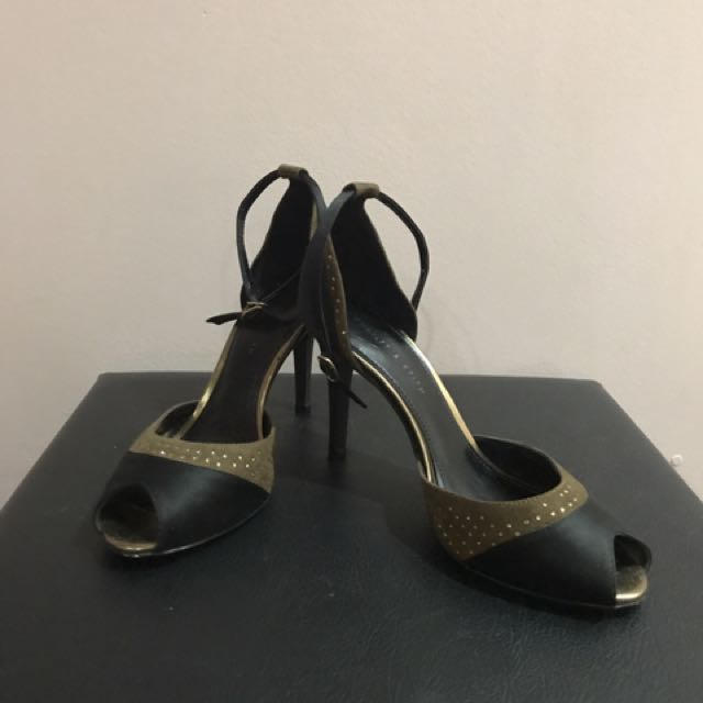 REPRICED Charles&Keith Black & Gold Stilettos (High Heels)