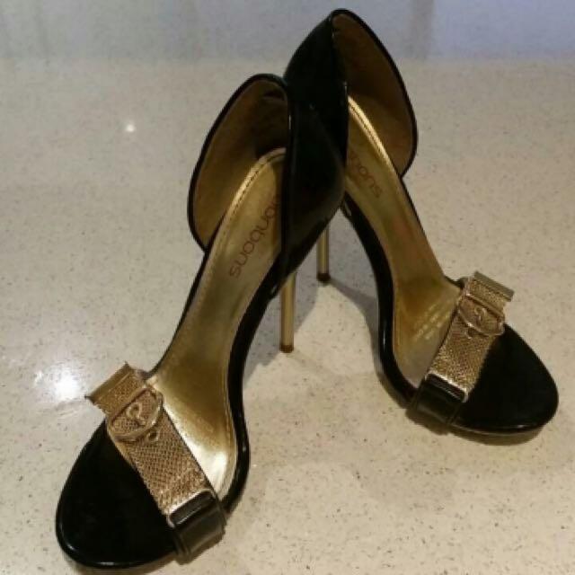 Black And Gold Bonbons Heels/stilettos