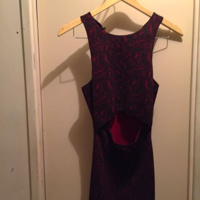 Black And Red Patterned Body Con Dress