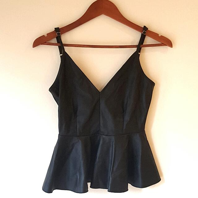 Black Leather Top With Low Cut Back Size S