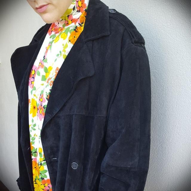 Black Suede Trench Coat