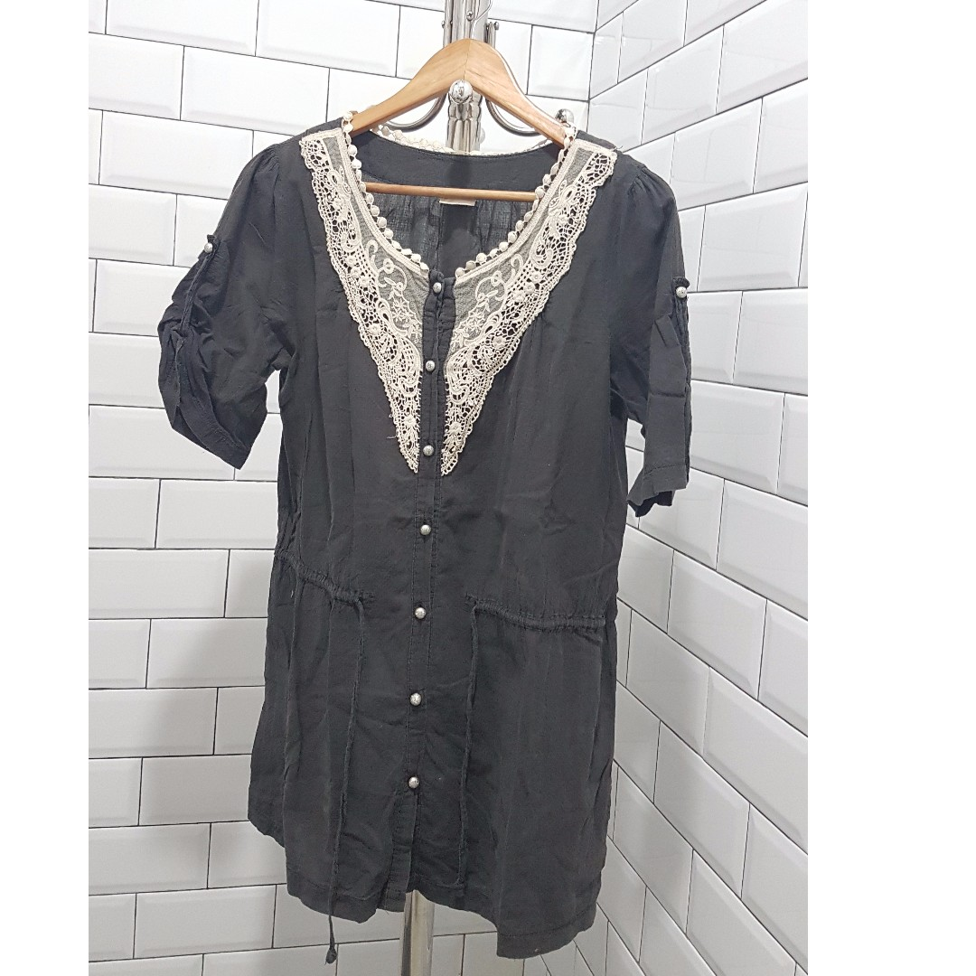 Black with lace shift dress