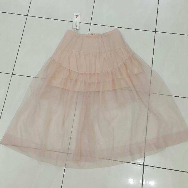 Blush Pink Mesh Skirt With Half Lining