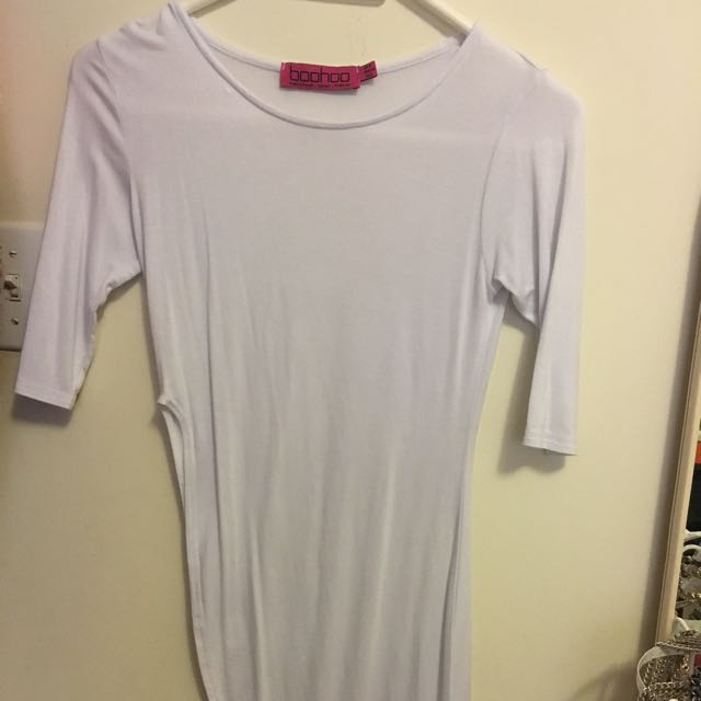 Boohoo White Top With High-Low Curved Hem