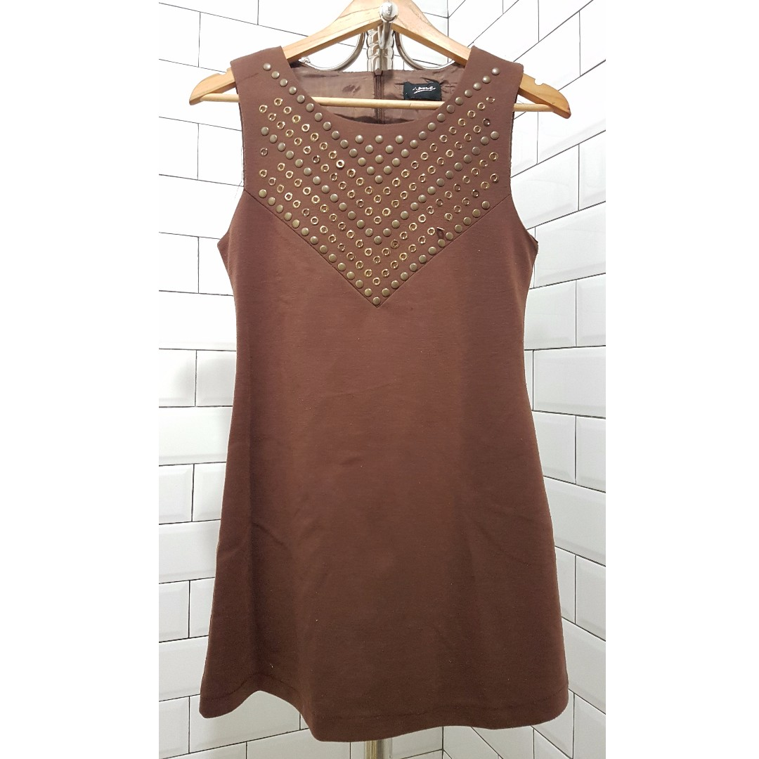 REPRICED Brown shift dress with studs
