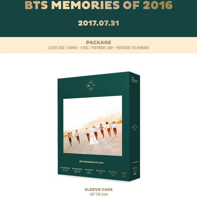 BTS MEMORIES OF 2016 DVD (KPOP)