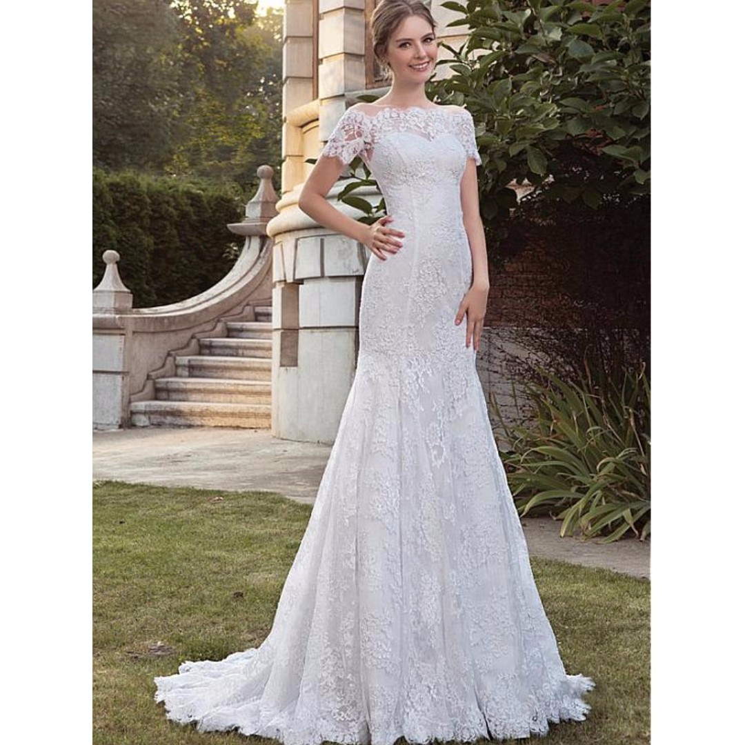 7b1c58d9ca5e Classy Vintage Full Lace Off-the-shoulder Mermaid Wedding Dresses With  Sleeves, Women's Fashion, Clothes on Carousell