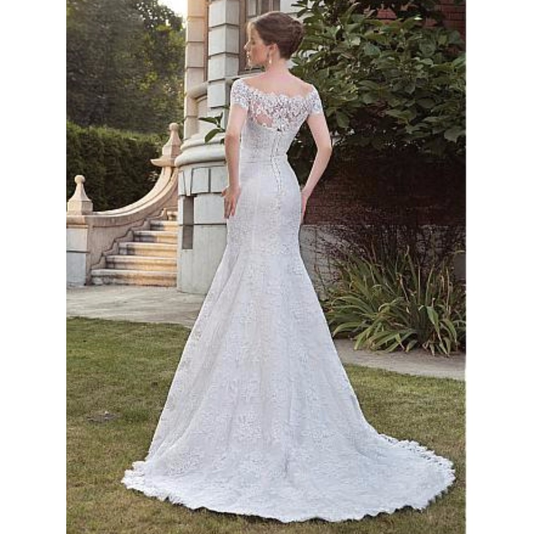Classy Vintage Full Lace Off-the-shoulder Mermaid Wedding Dresses ...
