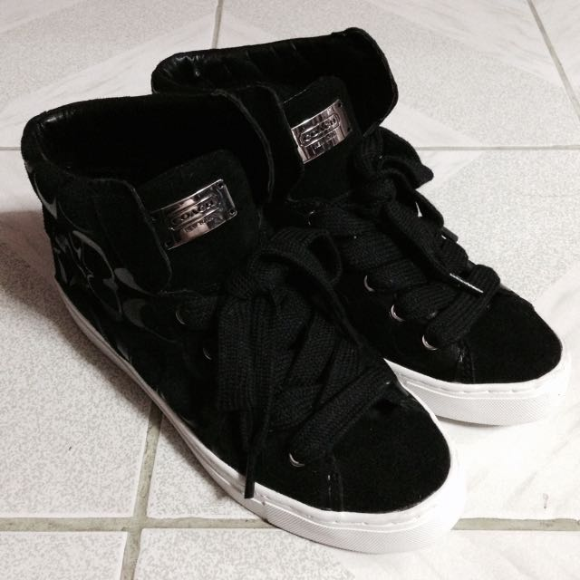 COACH Renee Logo Leather High Top Sneakers