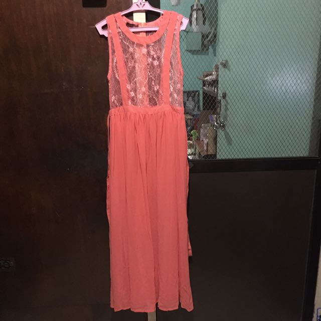 Coral Orange Maxi Dress w/ intricate Lace Details.