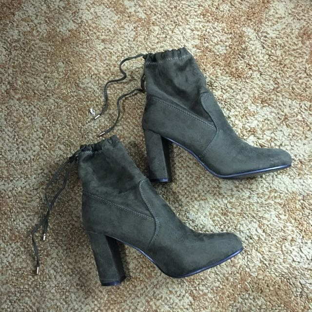 Dark Green High Heeled Boots