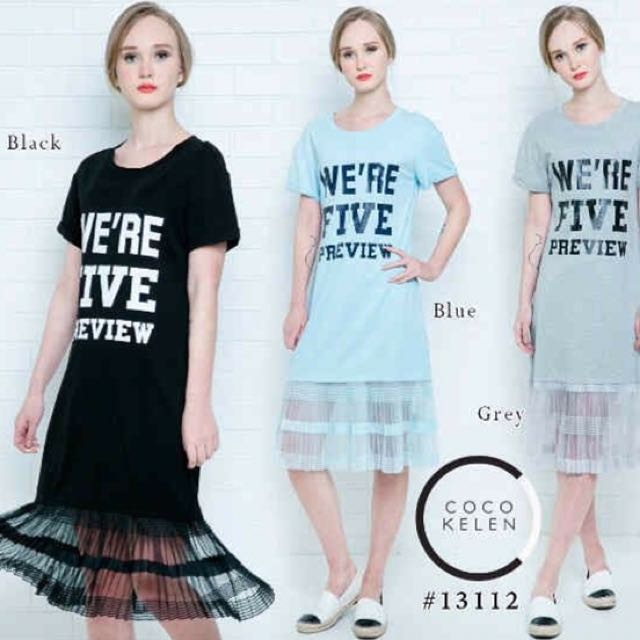 Dress Flare Tule Black (HITAM)