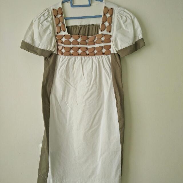 Dress Putih Hijau