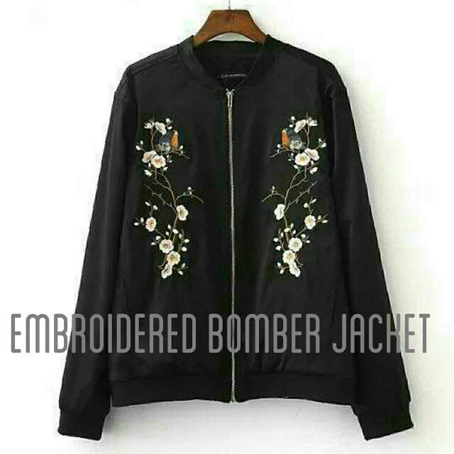 Embroidered Bomber Black Jacket