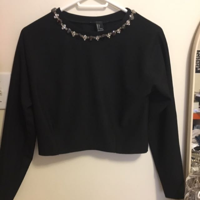 Forever21 Jewel Collar Black Top