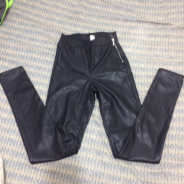 Forever 21 Leather Garterized Pants