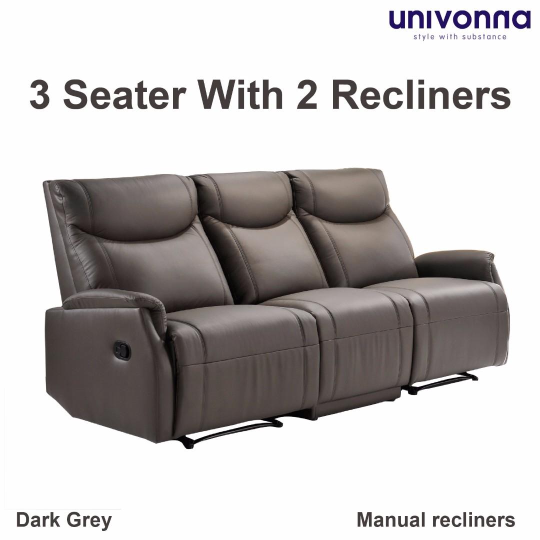 Genuine Italian Cowhide Leather 3 Seater Recliner Sofa Antonio  ~ Three Seater Recliner Sofa