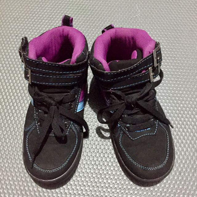 Girl's Black High Cut Sneakers