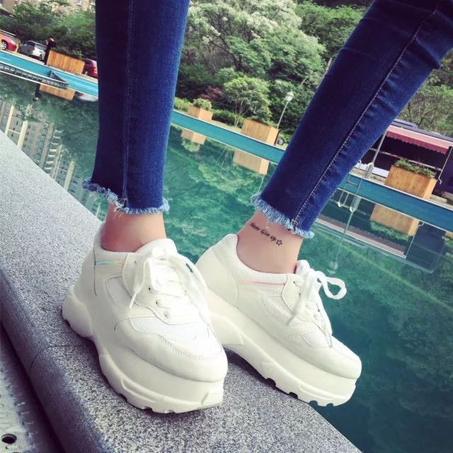 High Platform White Sporty Shoes