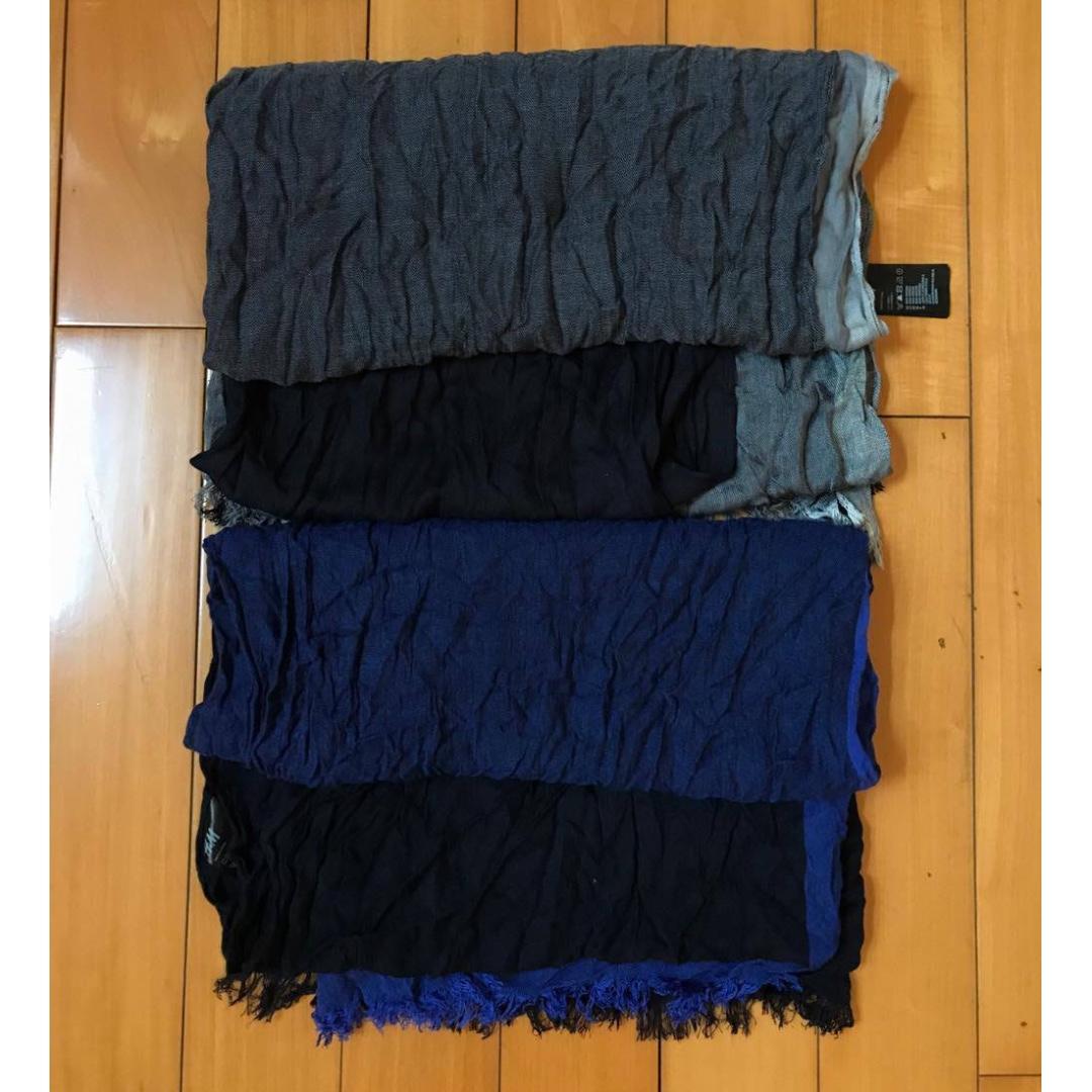 HM H&M 麻紗圍巾披肩(有絲巾的觸感)藍色色塊 / 黑灰色塊