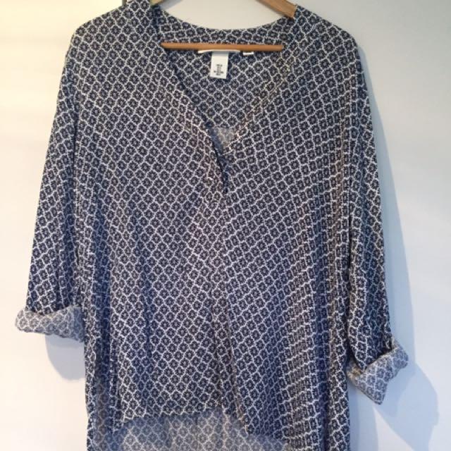 H&M Blue Print Shirt Blouse