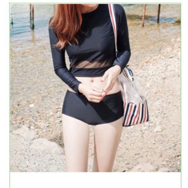 Korea new long-sleeved sexy Women Bikini Long Sleeve Swimsuit female thread splicing small chest