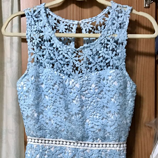 Lace Crochet Dress In Baby Blue Size S Womens Fashion Clothes