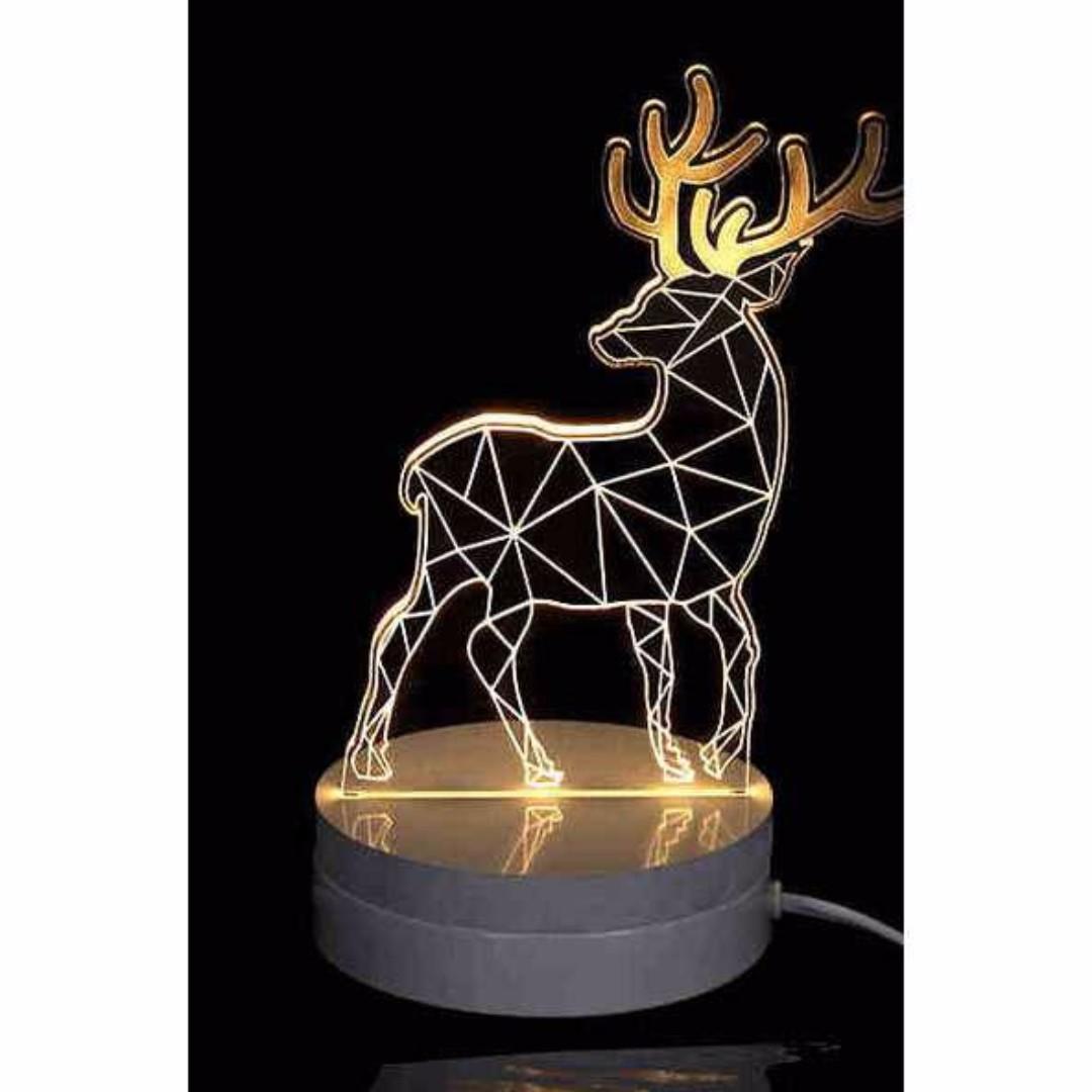 Lampu 3D LED Transparan Design Deer. Warna Putih.