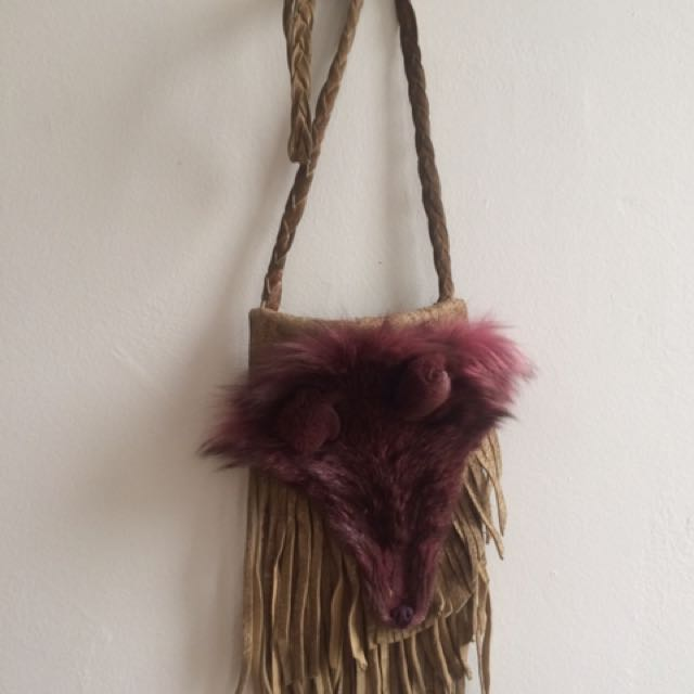Leather And Real Fox Fur Fringe Satchel