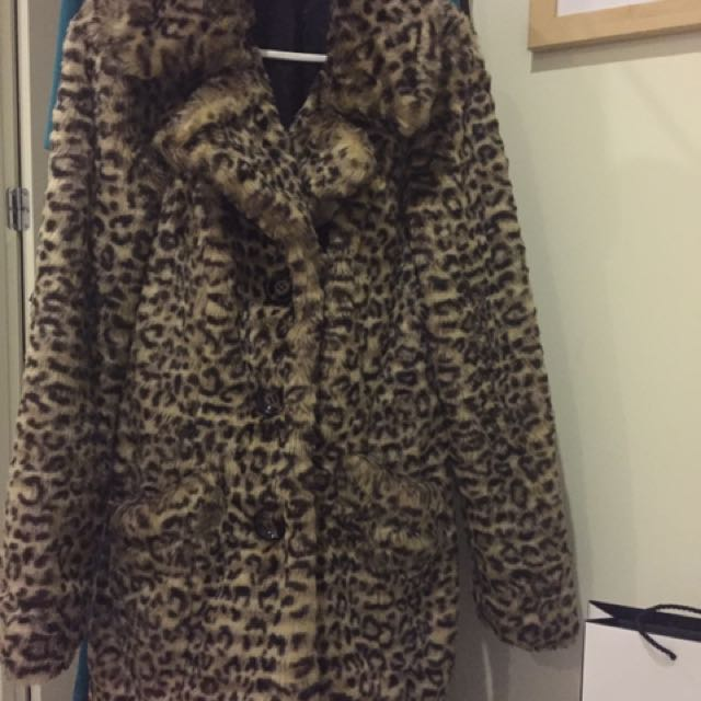 Leopard print overcoat