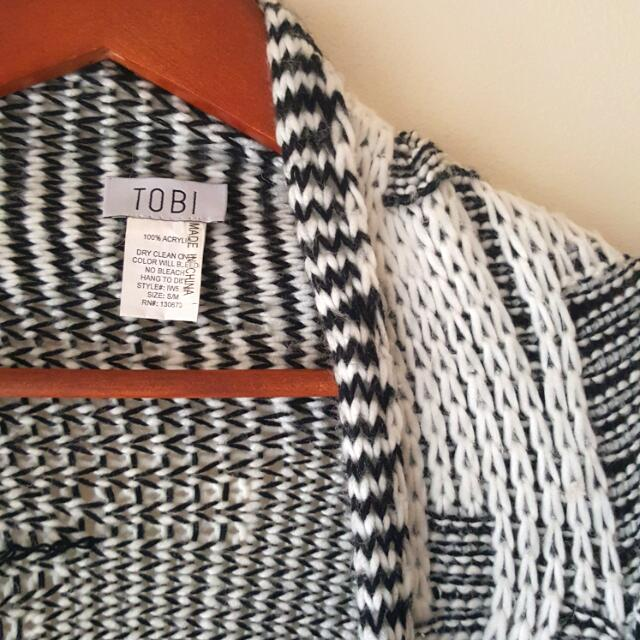 Long Black And White Cardigan Size S