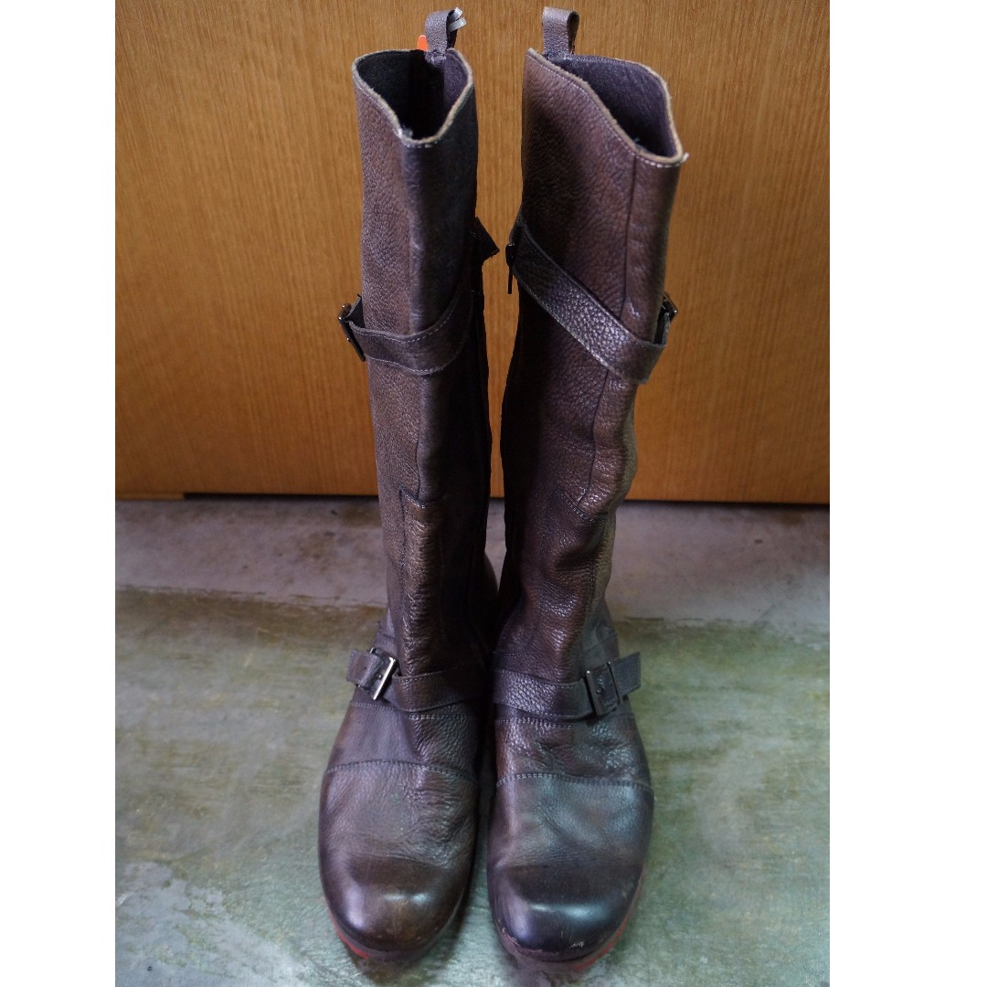 Long Dark Brown Soft Leather Boots