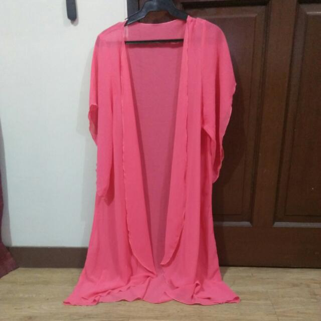 Bright Pink Long Beach Cover Up