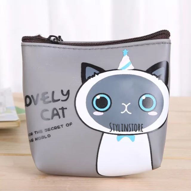 Lovely Cat Coin Purse (Gray)