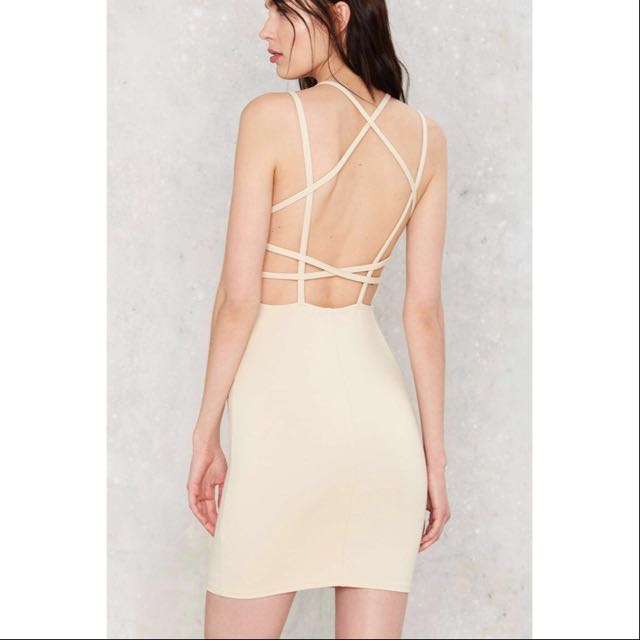Nasty Gal Grid & Bare It Bodycon Dress
