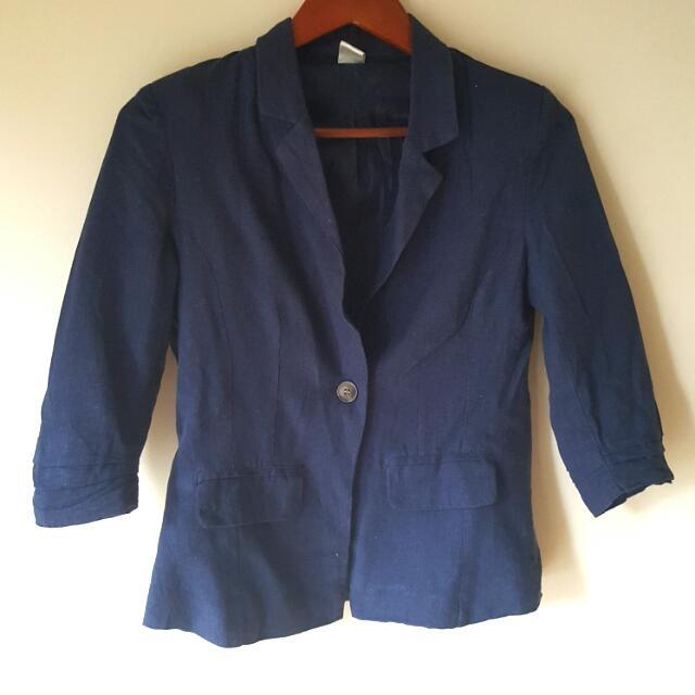 Navy Cotton Blazer - Size S/M