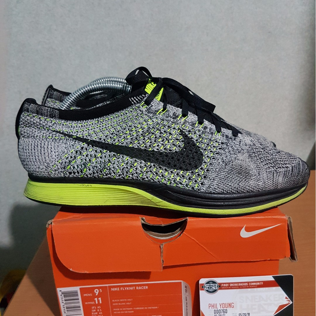 huge selection of b4446 281a7 Nike Flyknit Racer Grey Volt Size  9.5, Men s Fashion, Footwear on Carousell