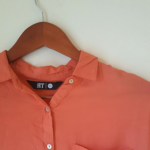 Oversized Orange Relaxed Fit Collar Shirt