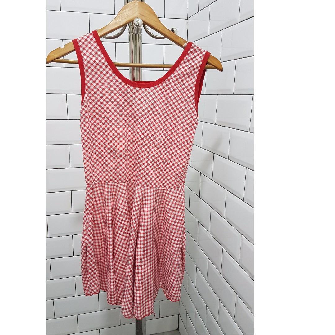 Picnic red and white skater dress