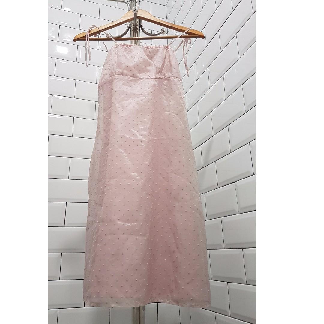 Pink polkadot formal dress