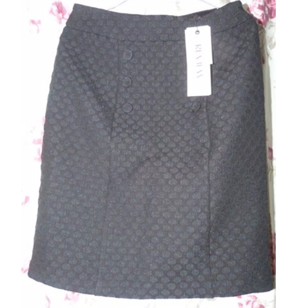 Review India Skirt Size 8 BNWT RRp 169 textured black