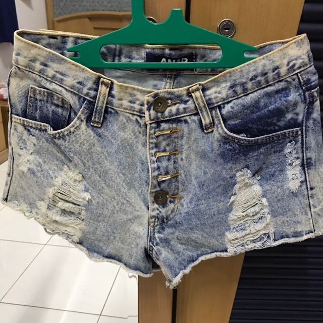 Ripped Blue White Jeans Short Pants