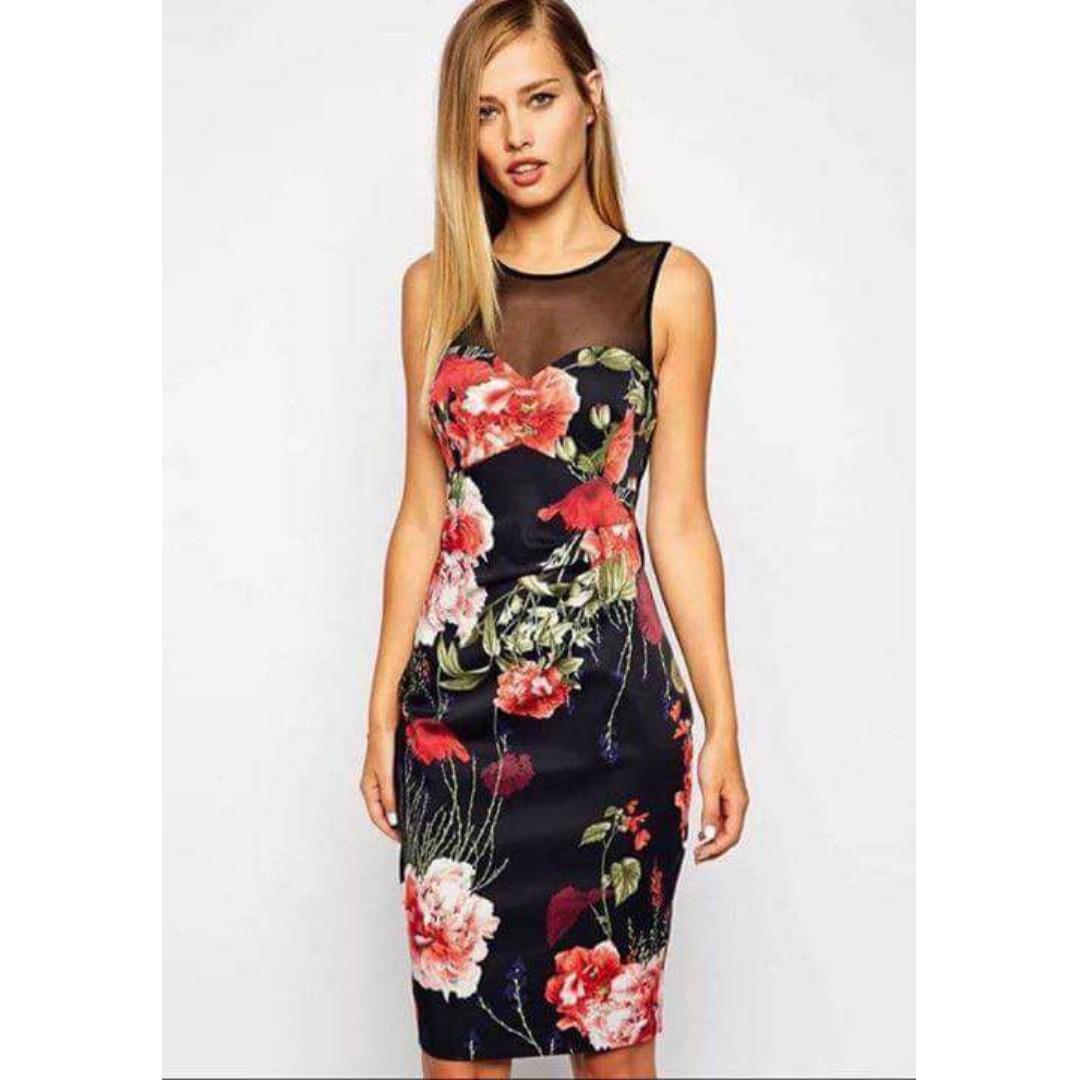 Rose Print Bodycon Dress