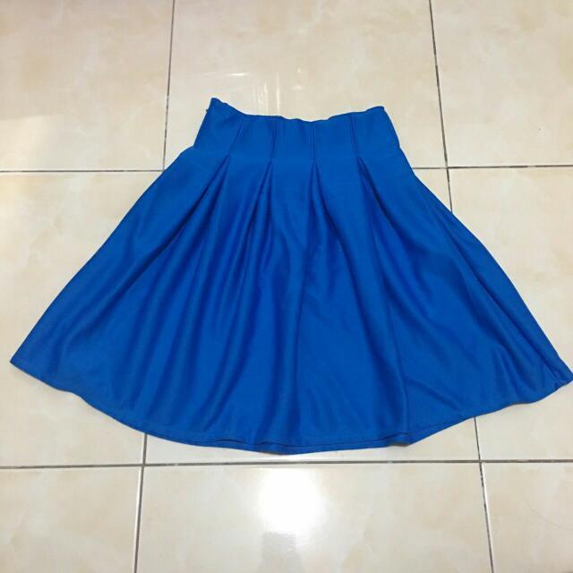 Royal Blue Pleated Skirt