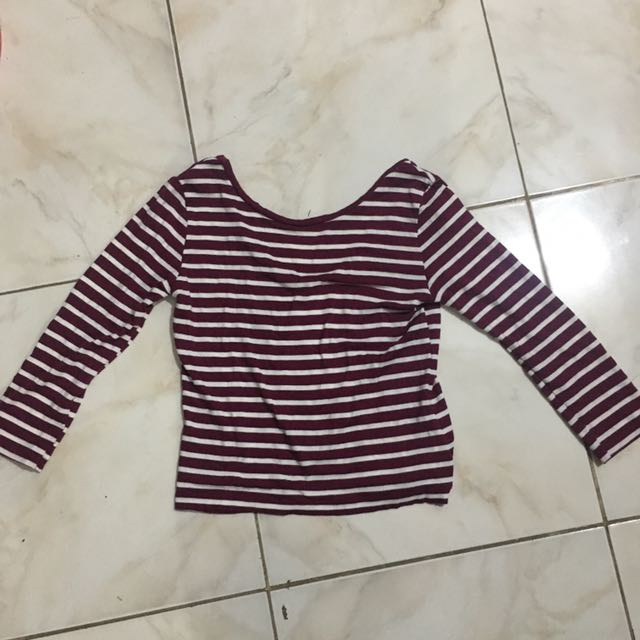 SALE!!! SCOOP BACK STRIPED TOP