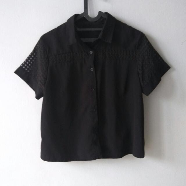 Sale (Shirt) Atasan Kombinasi Big Size See Through Hitam Size L Besar