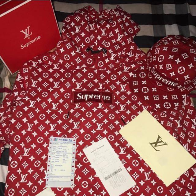 49712ee82863 Supreme X Louis Vuitton LV Collab Hoodie